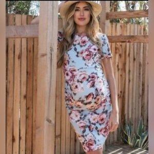 Pink Blush Light Blue Floral Maternity Dress